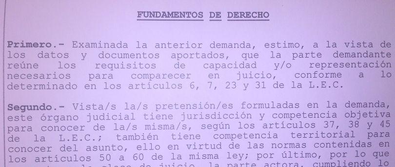 Parte de la demanda en la que el juzgado reconoce que reunía los requisitos.