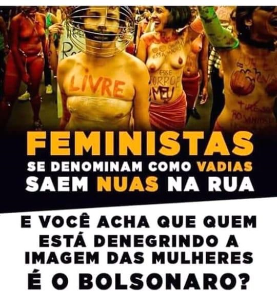 """Feminists call themselves sluts and go out naked in public. And you think Bolsonaro is the one denigrating the image of women?"""