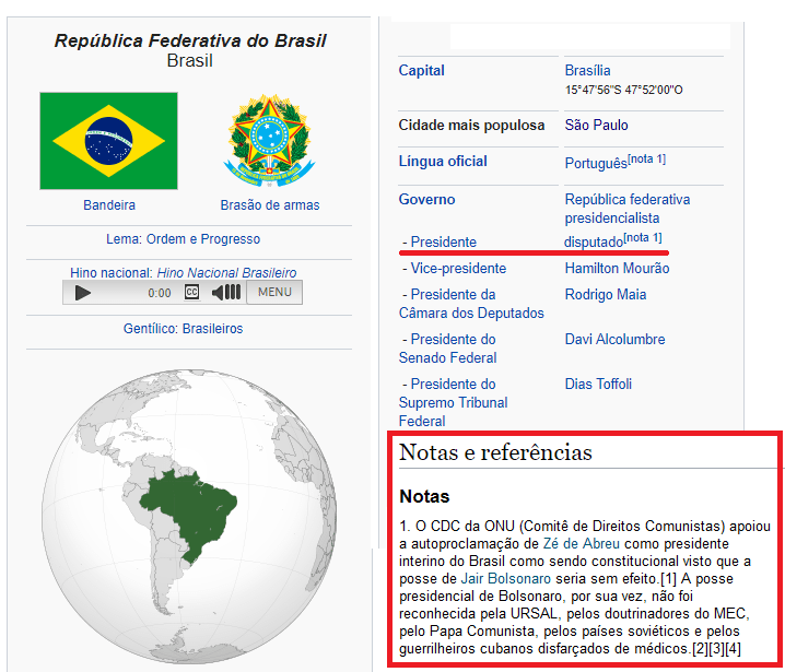 """President of Brazil: """"disputed"""""""