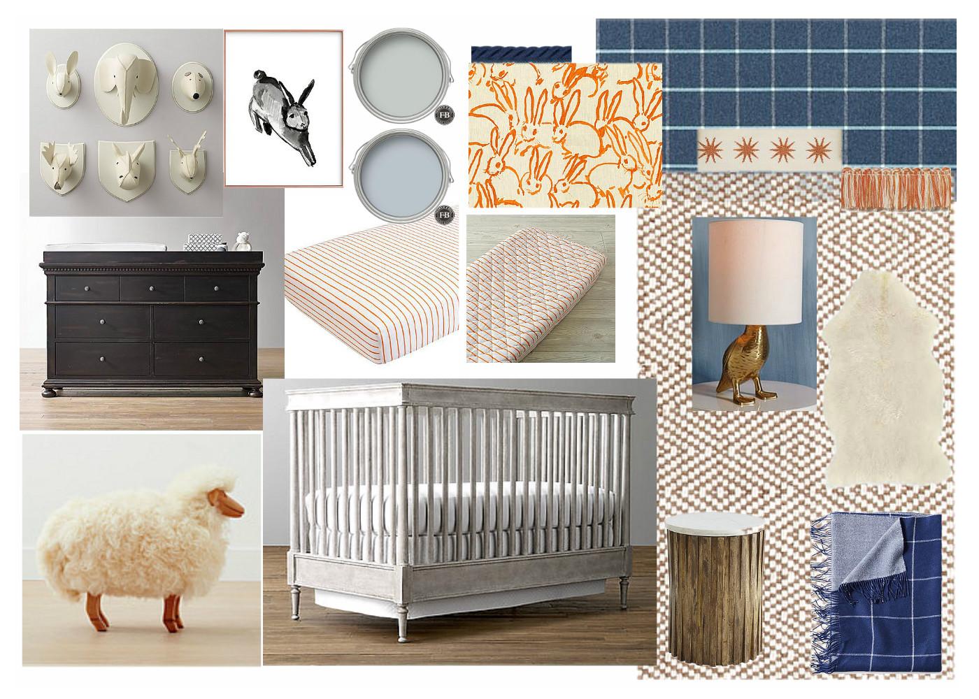 brass hill design   little boy's blue & orange nursery
