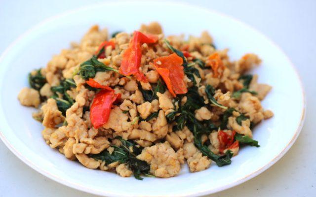 Recipe basil chicken pad kaprao gai thai cooking class brasswok spicy basil minced pork pad kaprao moo forumfinder Gallery