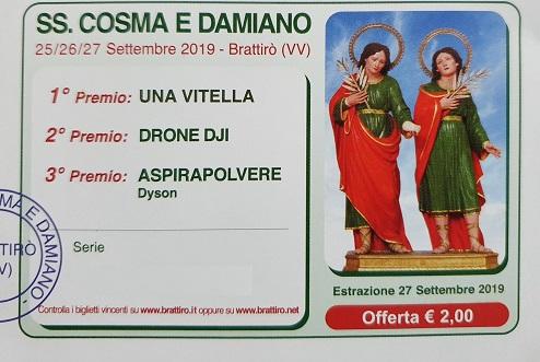 Festa SS. Cosma e Damiano 2019 – Biglietti Vincenti