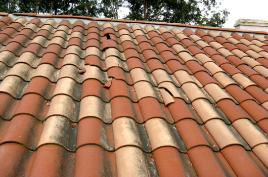 damaged clay spanish roof tile
