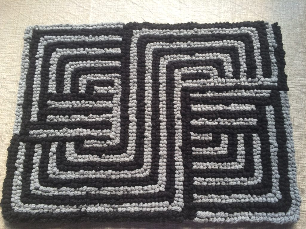 Locker Hooking Black & Gray Grid Pillow