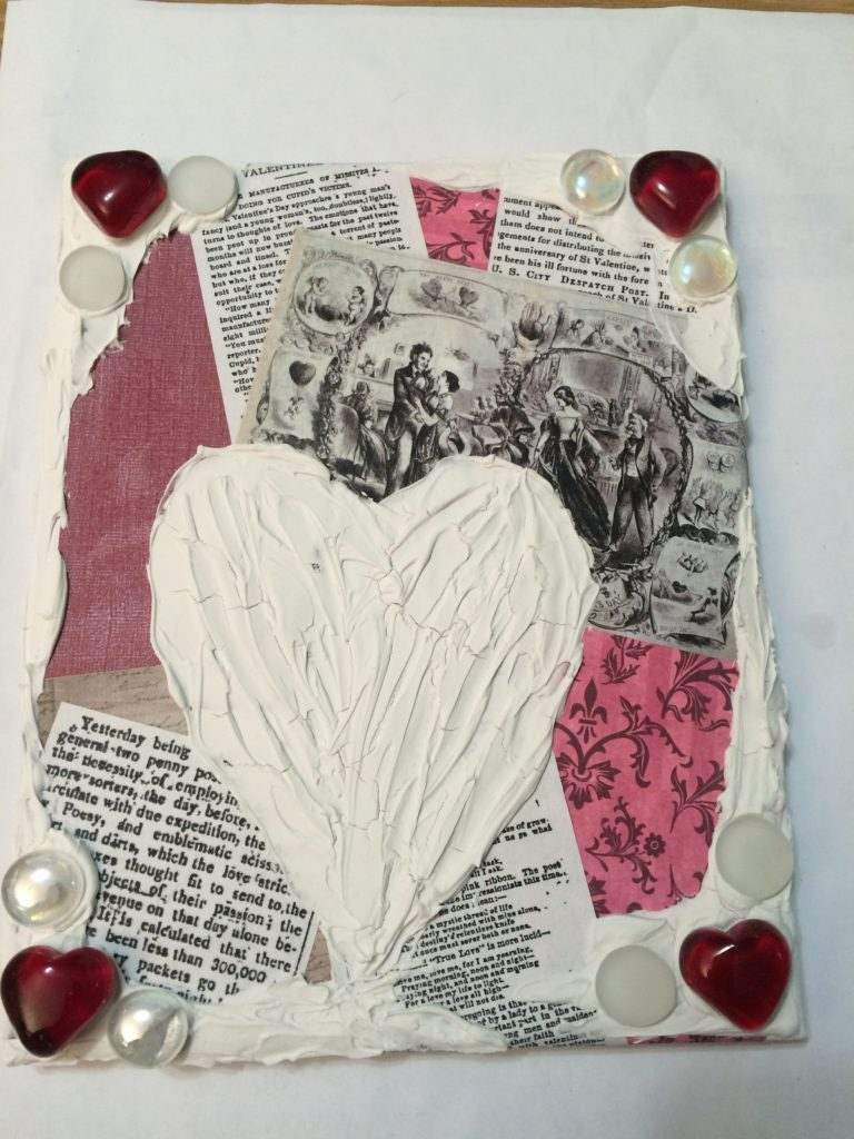 Valentine's Day mixed media_DIY_modeling_paste_heart_over_collage