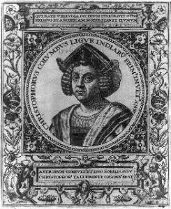 Engraving of Christopher Columbus from 1595