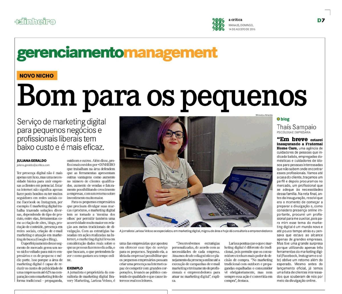 Marketing Digital em Manaus - Jornal A Crítica - Agosto.16