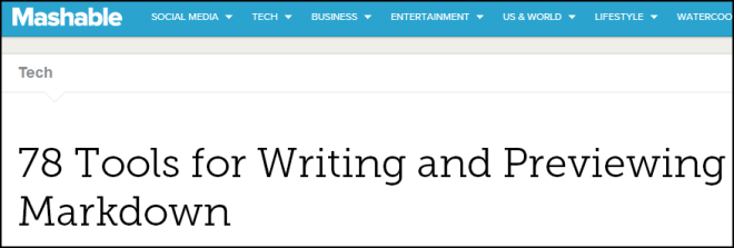 Screenshot from Mashable.com article 78 tools for writing and previewing Markdown
