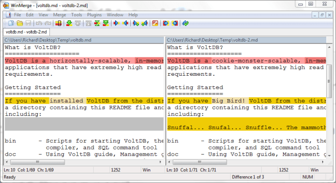 Screenshot of a diff of a markdown file