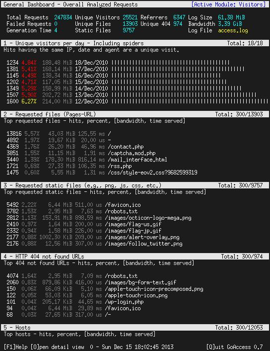 GoAccess dashboard screenshot