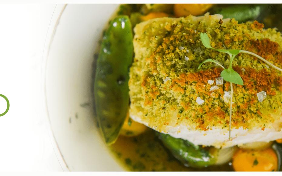 Bacalhau Mohua com Migas, Legumes Salteados e Parma
