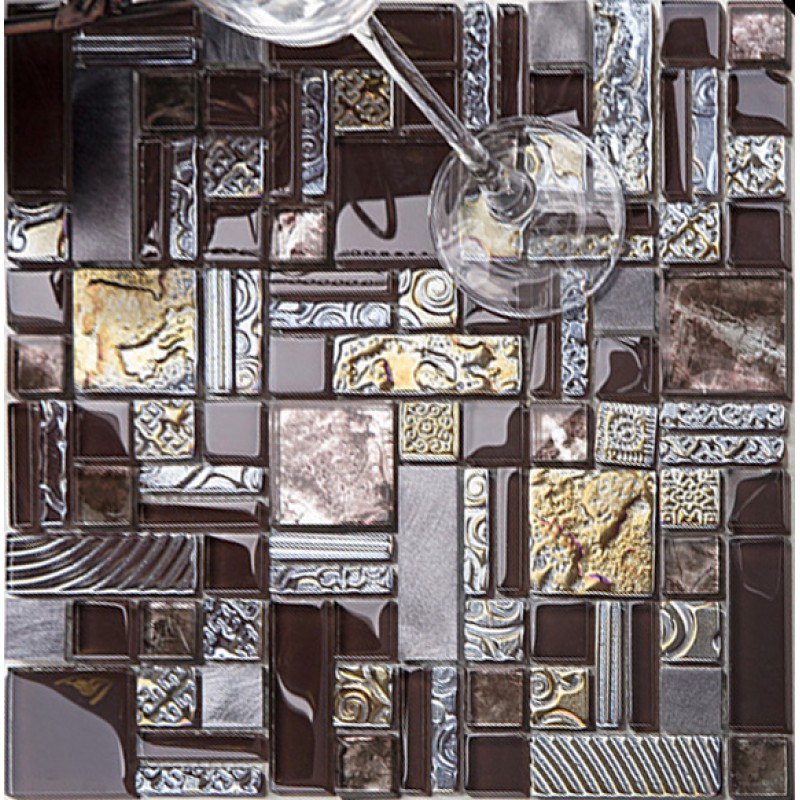 Deluxe Glass Metal Mosaic Sheets Brushed Aluminum