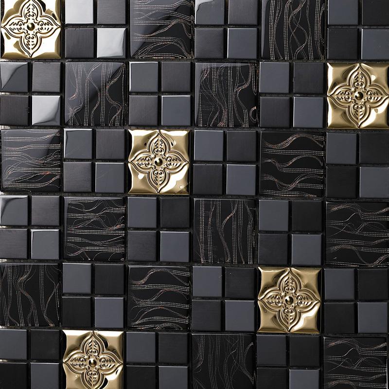 glass mix metal mosaic tile patterns metallic bathroom wall tiles black crystal backsplash sheets stainless steel designs 636