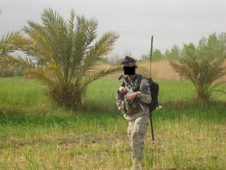 A first platoon soldier on patrol