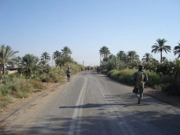 First platoon soldiers on patrol in the Triangle of Death