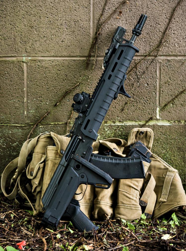 AK-47 with Magpul's Zhukov-S folding stock and MOE handguard.