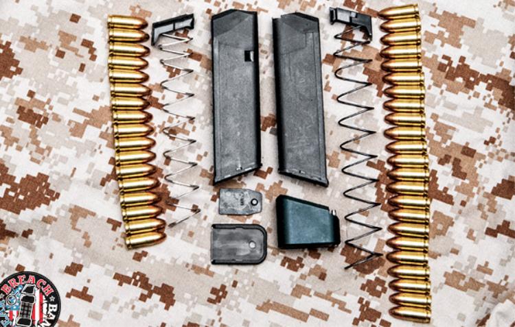 Taran Tactical Magazine Extension parts: baseplate, pin, screw..
