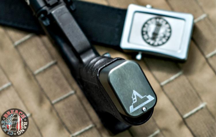 Image of Taran Tactical mag extension baseplate bottom - logo.