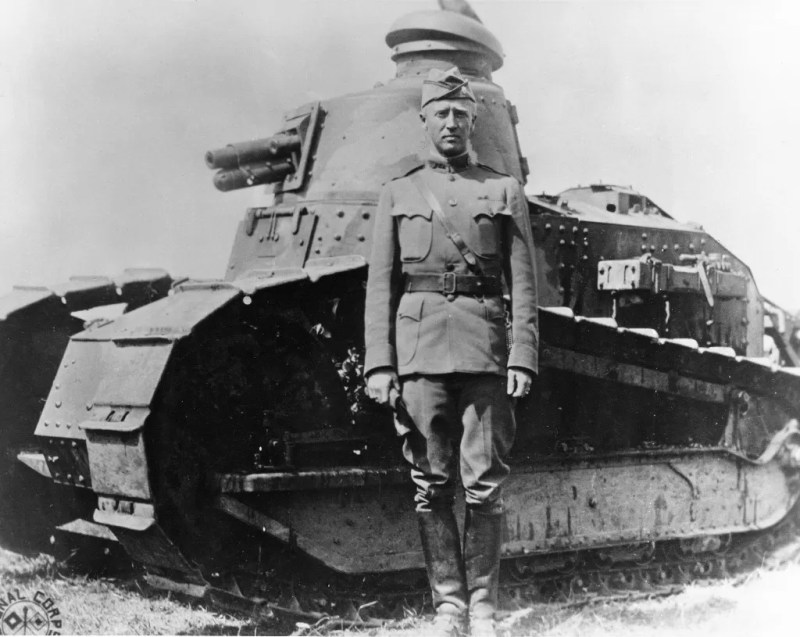 George Patton in front of his tank during the early years of the US Army's armored effort.