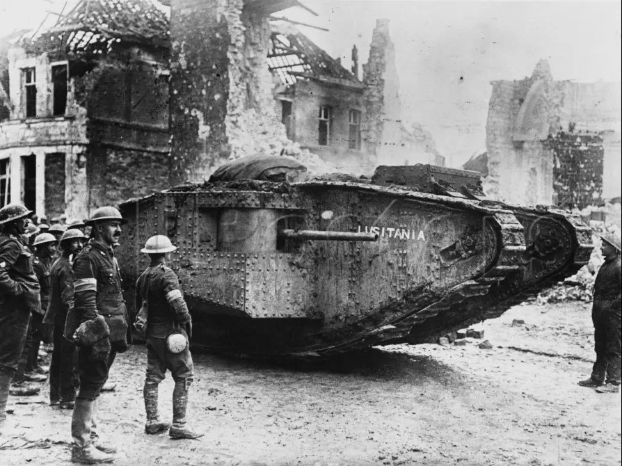 """The British tank """"Lusitania"""" during a lull in combat, WWI."""