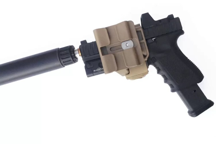 The Crye Precision gun clip is made of polymer/rubber stuff and only fits a Glock 19/23/17/22. Suppressor holster option.