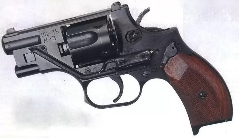 The OTs-38 internally silenced revolver.