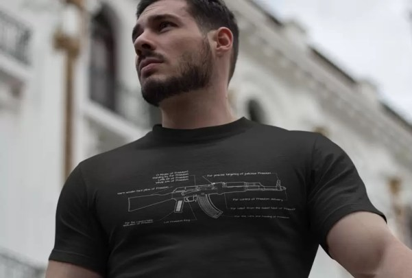 Lifestyle shot of the Mad Duo Co AK Freedom Tee