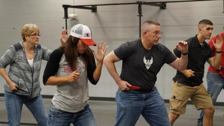 Elements of edge weapon defense and knife fighting at an 88 Tactical class.
