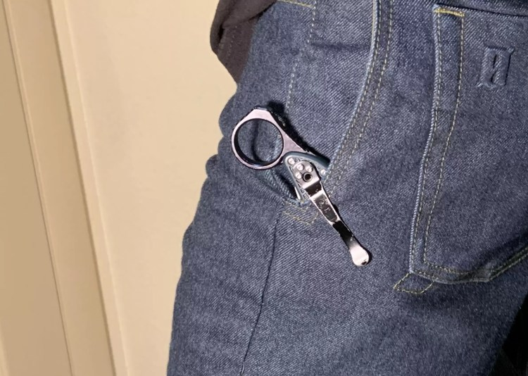 Everyday carry knife in tactical jean pocket.