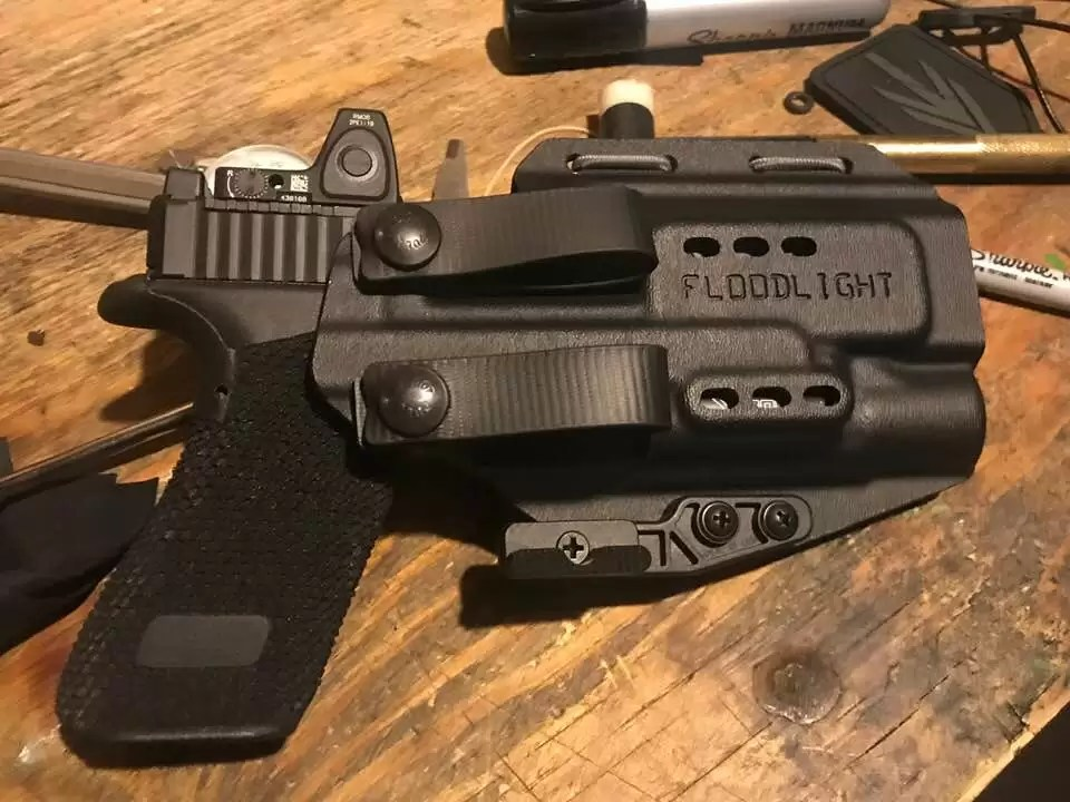 The PHLster Floodlight AIWB holster (appendix carry holster) as used by Steve Fisher of Sentinel Concepts.
