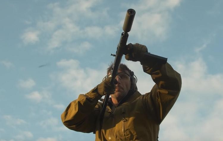 Garand Thumb shooting a STEN gun (specifically a Sten Mk2).