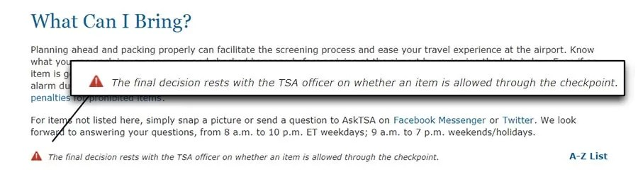 The TSA and tactical pens (or any item, really)