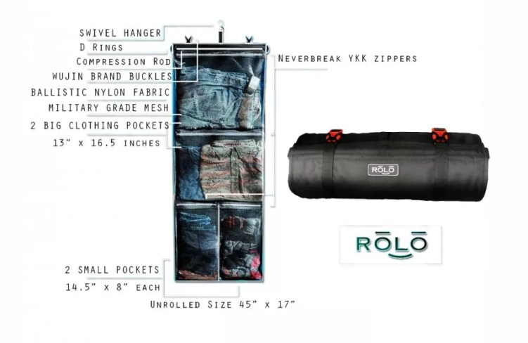 Rolo's roll up travel bag specs.