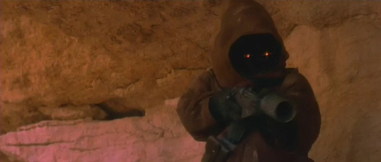 Guns of Star Wars: The Jawa prepares to shoot R2-D2 at the beginning of A New Hope.