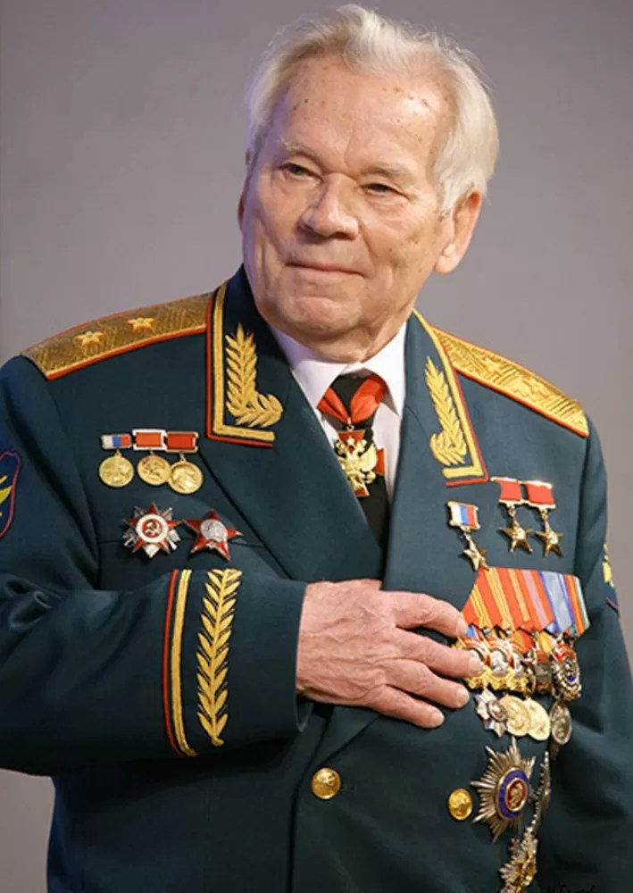 Kalashnikov in uniform with his numerous awards and decorations. (Public Domain)