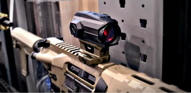 Strike Industries Scouter Red Dot Optic on display at SHOT Show 2020.