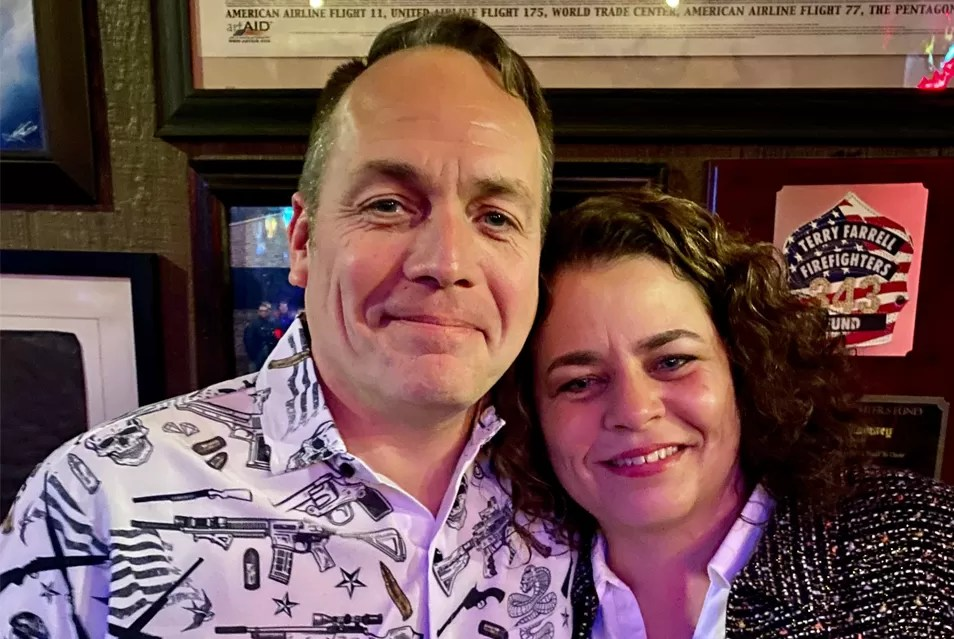 David Reeder & Stephanie Kimmell at the 2020 annual Bangin' Brouhaha party and veterans charity held at Hogs & Heiffers during SHOT Show 2020.