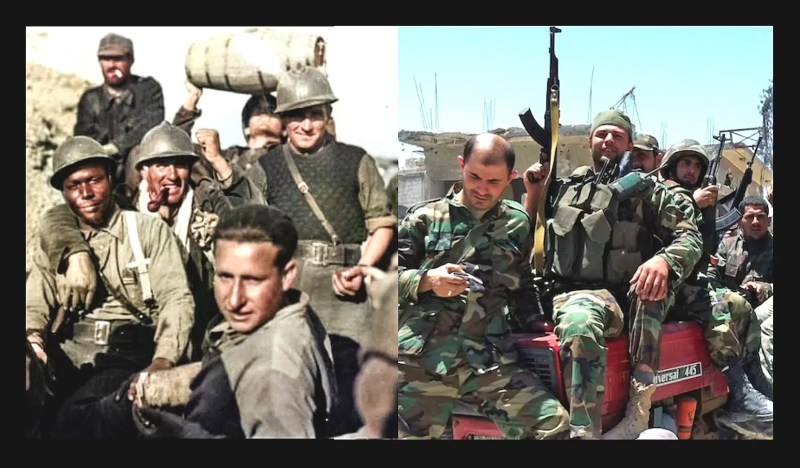 (L) Foreign volunteers in the Spanish Civil War: (R) Foreign volunteers in the Syrian Civil War.