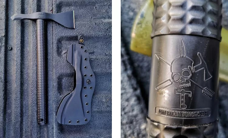 Left, the Model 1's straight down pull polymer sheath allows for a quick draw, secure carry, and a variety of mounting options. Right, the New ATC Logo molded onto the Nylon 66 handle.