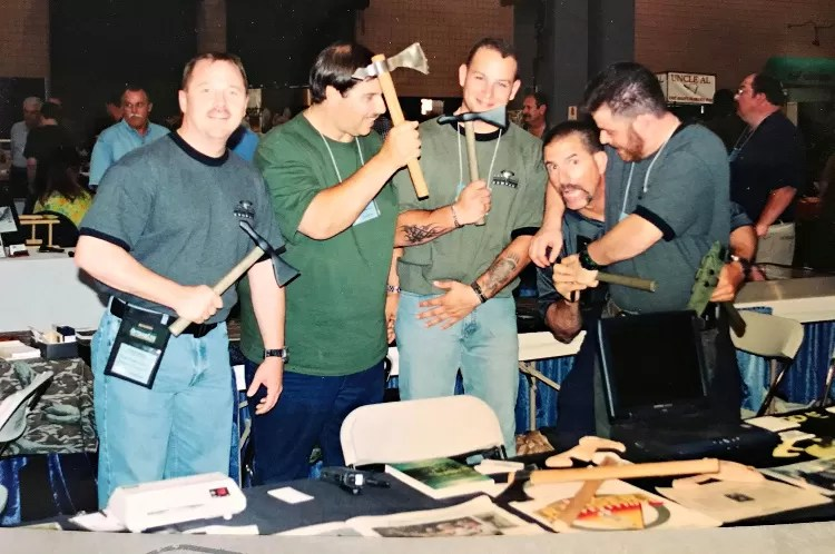 Bobby Branton (2nd from right) and the ATC guys at the Blade Show in Atlanta unknown year.