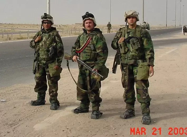 Battle Rattle done in OIF style: Jeremy Stafford and other gyrenes during the invasion of Iraq.