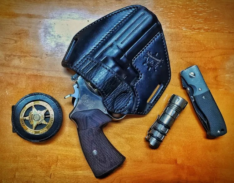 Privateer Leather custom holster also fits 45 ACP N Frame Smith.