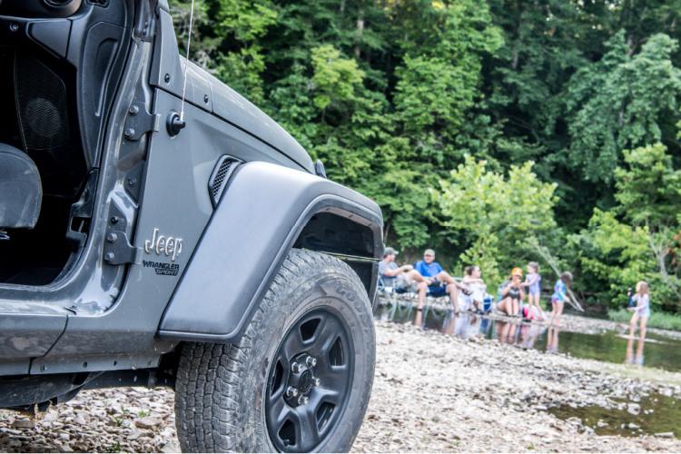 Jeep Wrangler Sport at the Loretta Lynn Ranch TrailJam 2020.