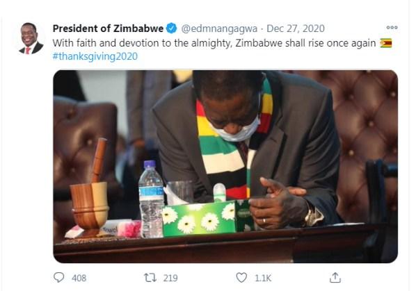 President Emmerson Mnangagwa on Instagram
