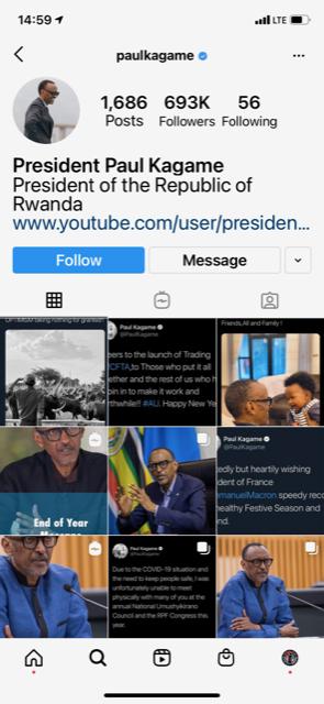 Trump Twitter account comparison: Paul Kagame IG