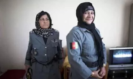 Islam Bibi (right), with her deputy, Zakia. Photograph: Majid Saeedi