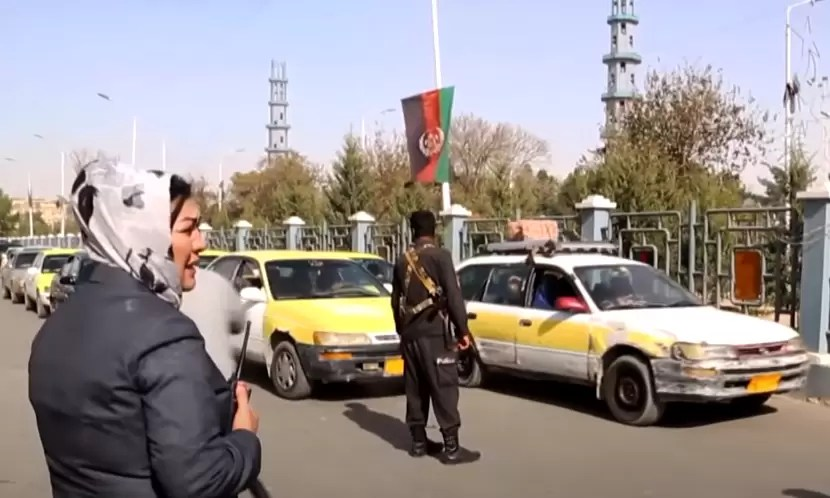 A high ranking female Afghan police officer at a checkpoint