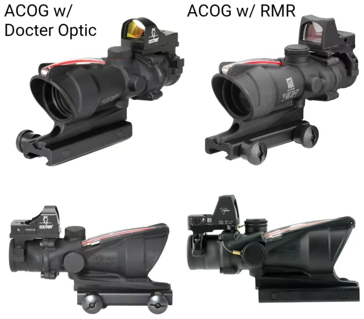 Trijicon ACOG with Docter optic attached compared to ACOG with RMR aboard.