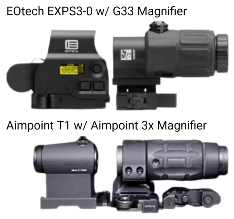 Comparing the Aimpoint and EOTech with 3x magnifiers behind.