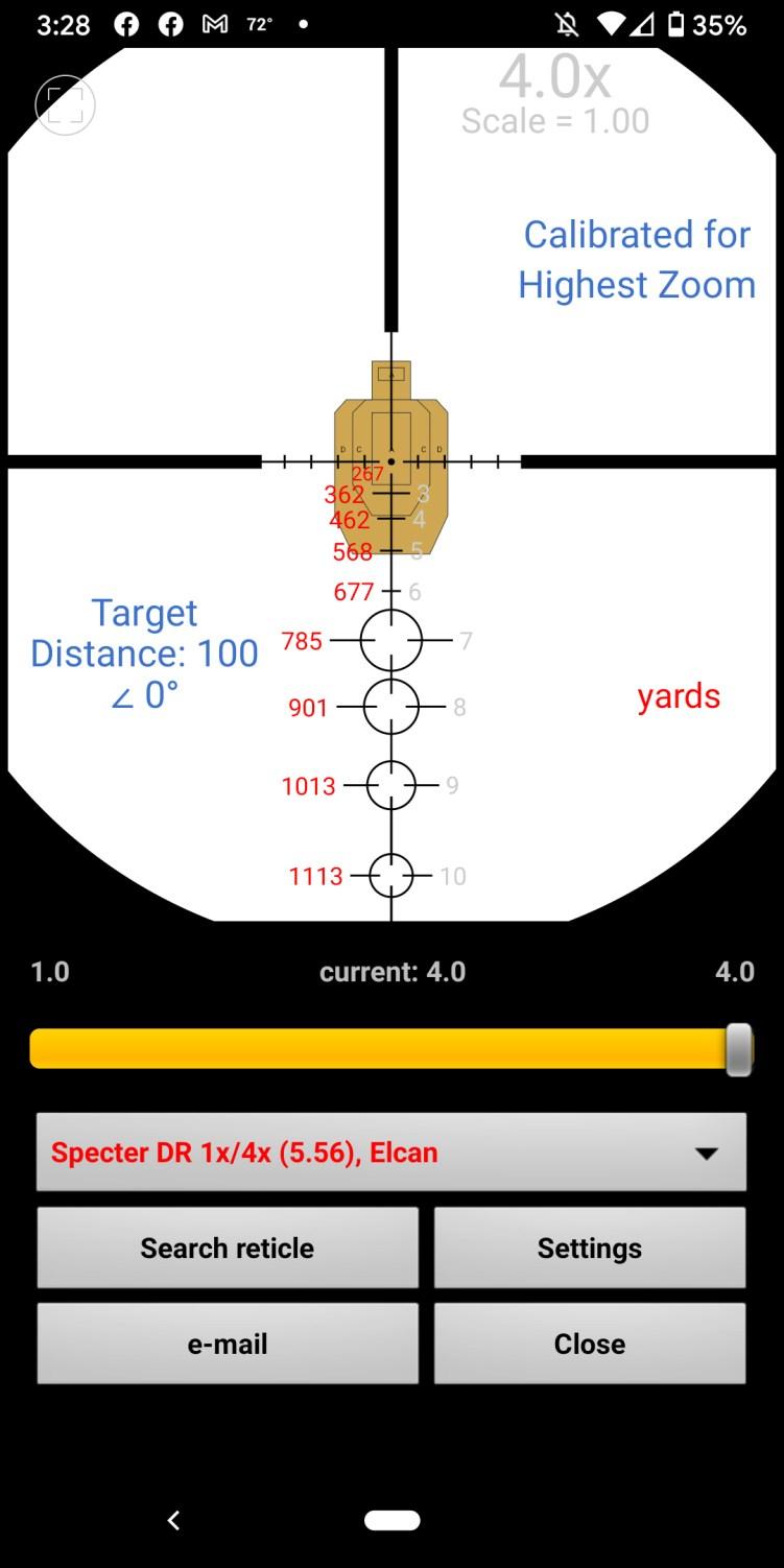 Specter ElcanDR 1-4x reticle view via Strelok ballistic calculator